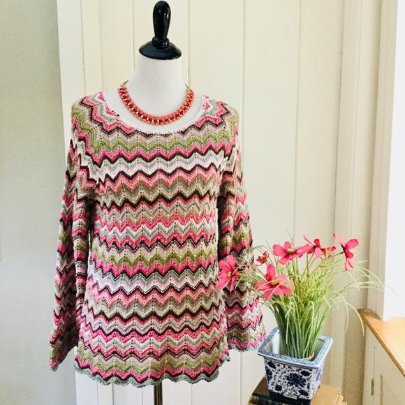 08e39f934c SIGRID OLSEN Pink & Green Chevron Crochet Sweater.  M_5b7483d1f303690d191ef226